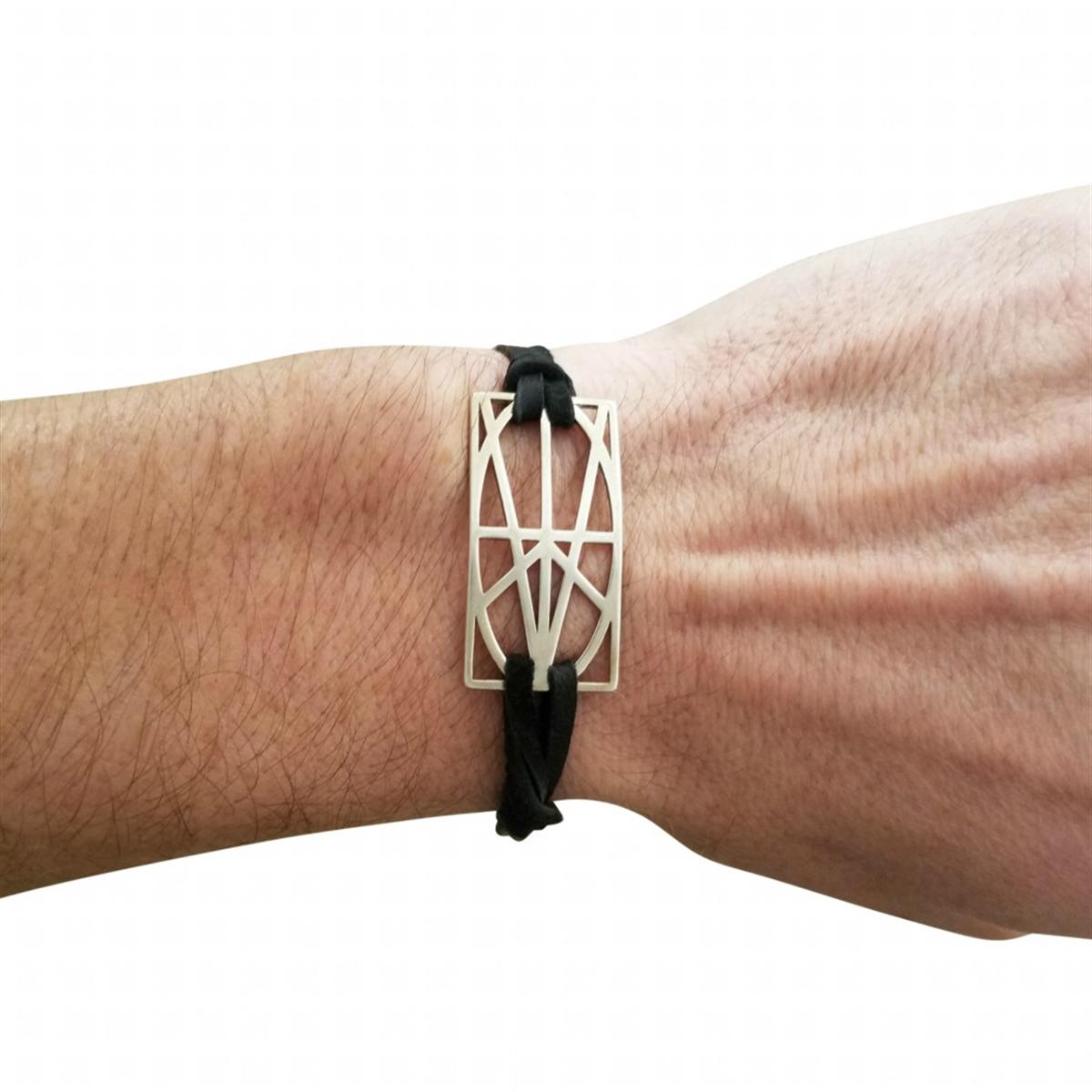 Picture of Men's Sterling Silver Wrap & Tuck Bracelet - Black